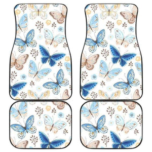 Blue Butterfly Pattern Front And Back Car Mats 202905 - YourCarButBetter