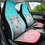 Boho Cow Skull Flowers And Arrows On Ombre Background Car Seat Covers 144730 - YourCarButBetter