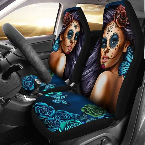Calavera Girl - Blue - Car Seat Covers 101807 - YourCarButBetter