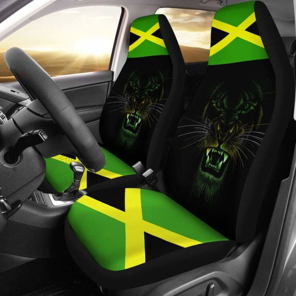 Car Seat Covers Africa - Jamaica Flag Color With Lion - 161012 - YourCarButBetter