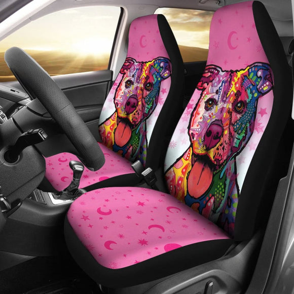 Colorful Pitbull Car Seat Cover for Lovers of Pitbulls 211202 - YourCarButBetter