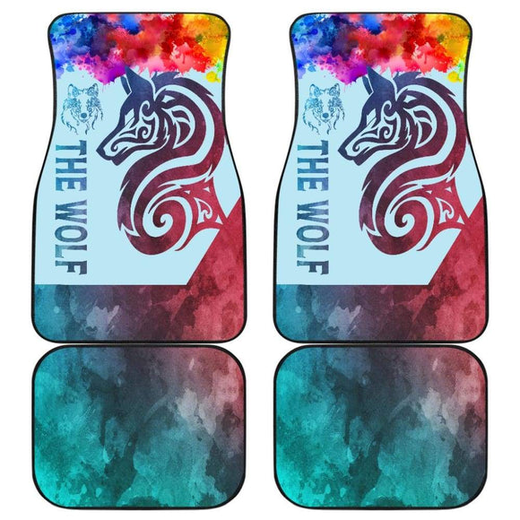 Colorful Wolf Mandala Car Floor Mats 212502 - YourCarButBetter