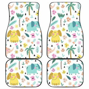 Cute Elephants Palm Tree Flower Butterfly Pattern Front And Back Car Mats 202820 - YourCarButBetter