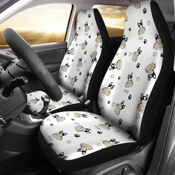Cute French Bulldog Dog Print On White Car Seat Covers 210602 - YourCarButBetter