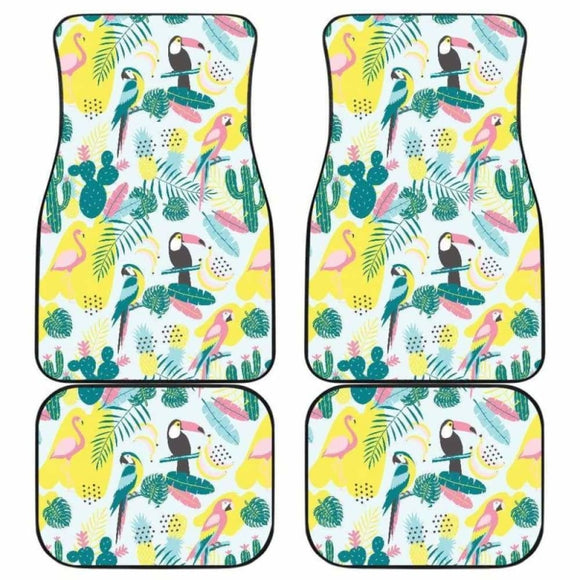 Cute Parrot Toucan Flamingo Cactus Exotic Leaves Pattern Front And Back Car Mats 201010 - YourCarButBetter