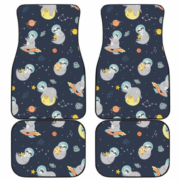 Cute Sloth Astronaut Star Planet Rocket Pattern Front And Back Car Mats 144902 - YourCarButBetter