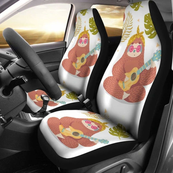 Cute Sloth Playing Guitar Car Seat Covers 144902 - YourCarButBetter