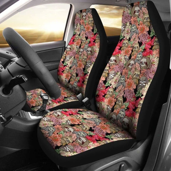 Cute Sloths With Flowers Sloth Car Seat Covers 144902 - YourCarButBetter