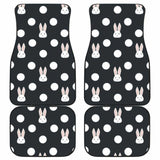 Cute White Rabbit Polka Dots Black Background Front And Back Car Mats 143731 - YourCarButBetter
