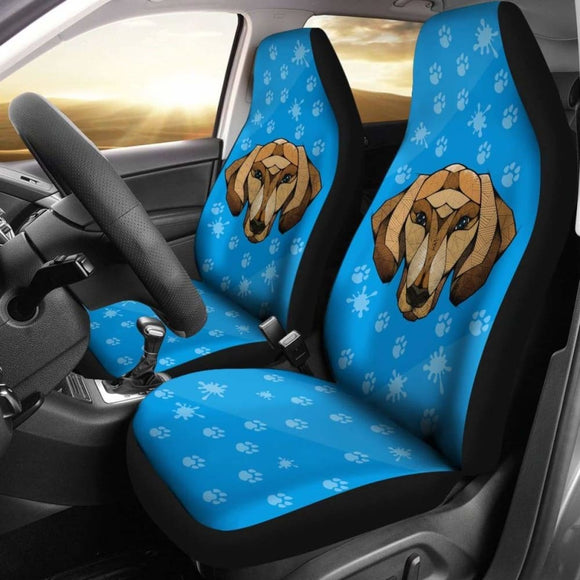 Dachshund Face Blue Car Seat Covers Bestselling 092813 - YourCarButBetter