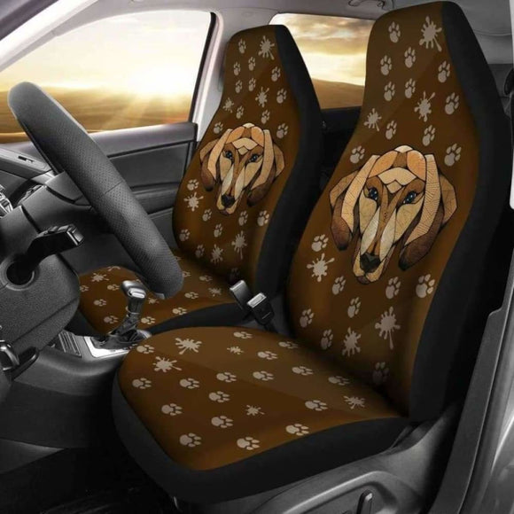 Dachshund Face Brown Car Seat Covers Awesome 092813 - YourCarButBetter