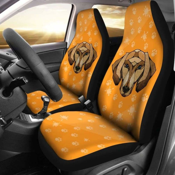 Dachshund Face Orange Car Seat Covers 092813 - YourCarButBetter