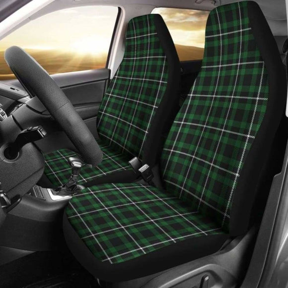 Dark Green And White Plaid Tartan Scottish Car Seat Covers 161012 - YourCarButBetter