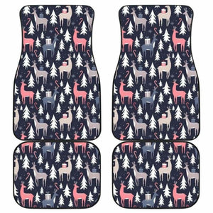 Deers Winter Christmas Pattern Front And Back Car Mats 161012 - YourCarButBetter