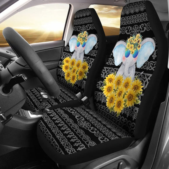 Elephant Love Sunflowers Car Seat Covers 211302 - YourCarButBetter