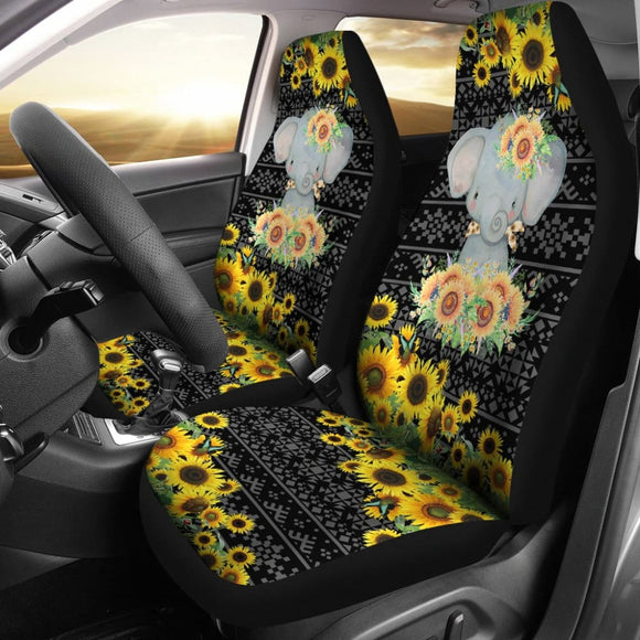 Elephant Sunflower Art Car Seat Covers Amazing Gift 211402 - YourCarButBetter