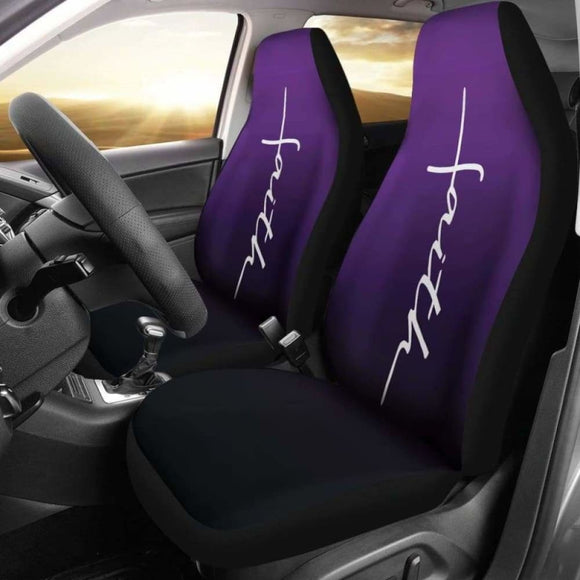 Faith Word Cross In White On Dark Purple Ombre Car Seat Covers Religious Christian Themed 160905 - YourCarButBetter