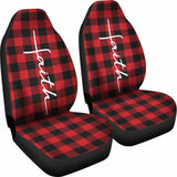 Faith Word Cross In White On Red Buffalo Plaid Car Seat Covers Religious Christian Themed 160905 - YourCarButBetter