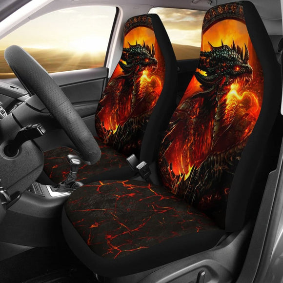 Fire Dragon Fierce Battle Warrior Fighting Car Seat Covers 211502 - YourCarButBetter
