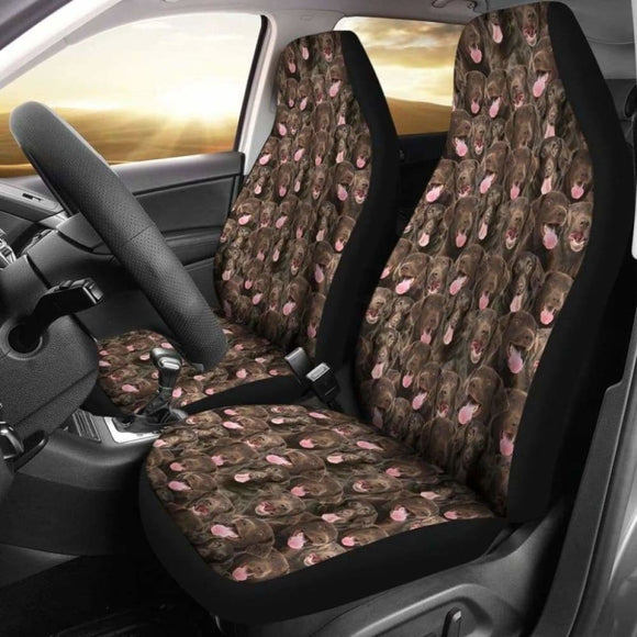 Flat Coated Retriever Full Face Car Seat Covers 115106 - YourCarButBetter