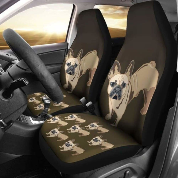 French Bulldog Cartoon Car Seat Cover 194110 - YourCarButBetter