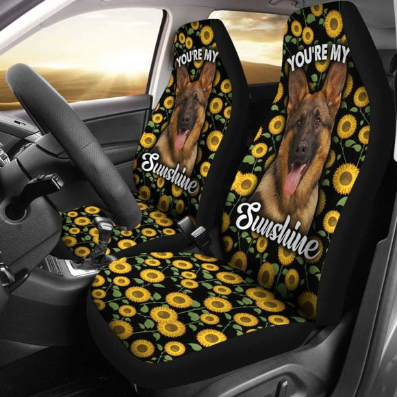German Shepherds Dog You're My Sunshine Sunflower Car Seat Covers 211203 - YourCarButBetter