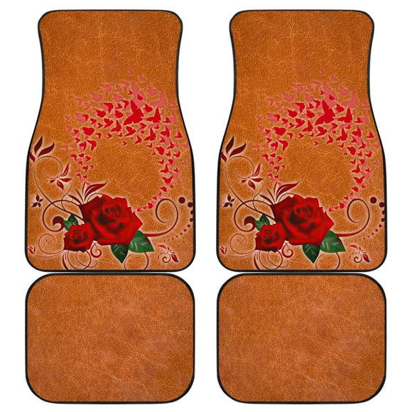 Girly Flower Rose and Butterfly Car Floor Mats 210902 - YourCarButBetter