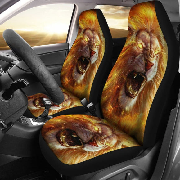 Golden Fire Eyes Lion Car Seat Covers 211102 - YourCarButBetter