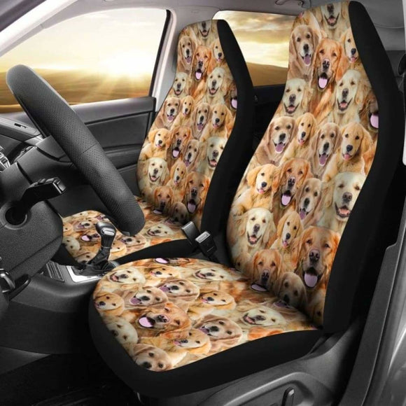 Golden Retriever Full Face Car Seat Covers 115106 - YourCarButBetter