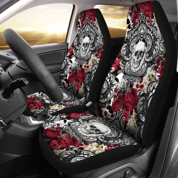 Gothic Skull And Red Roses Universal Bucket Seat Covers 172727 - YourCarButBetter