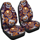 Gretta Skully Car Seat Covers - Sugar Skull - Orange 101207 - YourCarButBetter