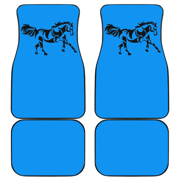 Horse Silhouette Blue Car Floor Mats 211602 - YourCarButBetter