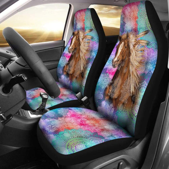 Horse Vintage Mandala Car Seat Covers 210303 - YourCarButBetter