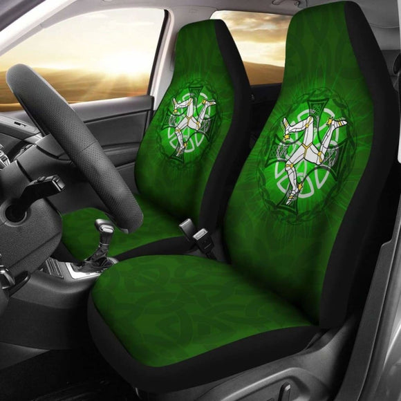 Isle Of Man Car Seat Cover - Triskelion With Celtic Cross & Circle (Green) - 160905 - YourCarButBetter