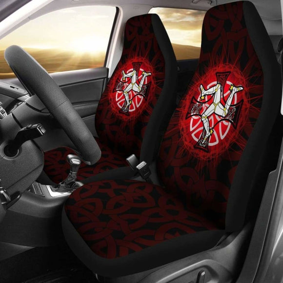 Isle Of Man Car Seat Cover - Triskelion With Celtic Cross & Circle (Red) - 160905 - YourCarButBetter