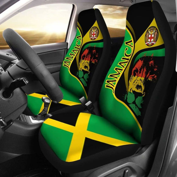 Jamaica Car Seat Covers - Jamaican Lion With Coat Of Arms - Amazing 161012 - YourCarButBetter