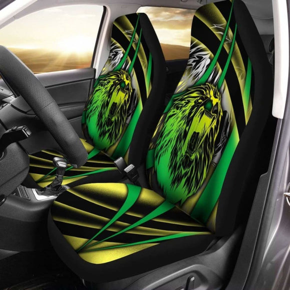 Jamaica Car Seat Covers - Jamaica Lion With Flag Colors - Amazing 161012 - YourCarButBetter