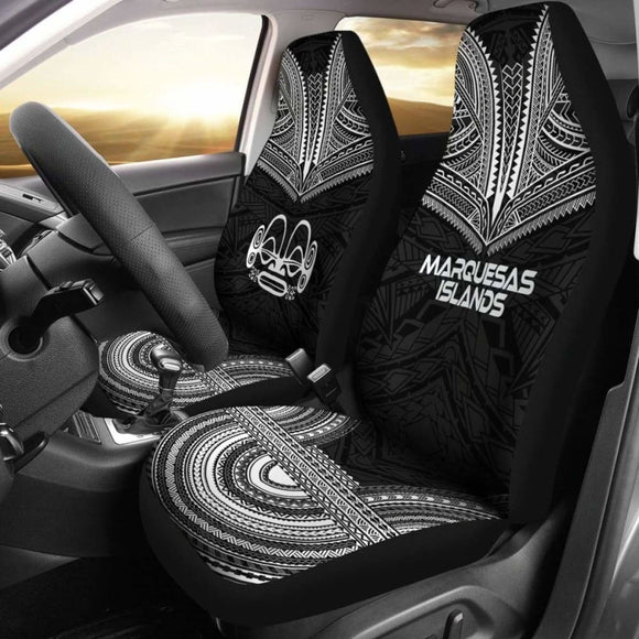 Marquesas Islands Car Seat Cover - Marquesas Islands Tiki Face Polynesian Chief Tattoo Black Version - 10 174914 - YourCarButBetter