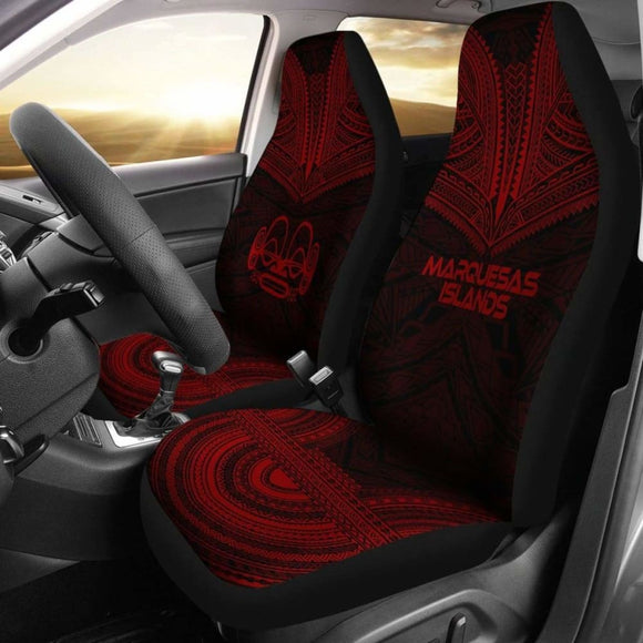 Marquesas Islands Car Seat Cover - Marquesas Islands Tiki Face Polynesian Chief Tattoo Deep Red Version - 10 174914 - YourCarButBetter