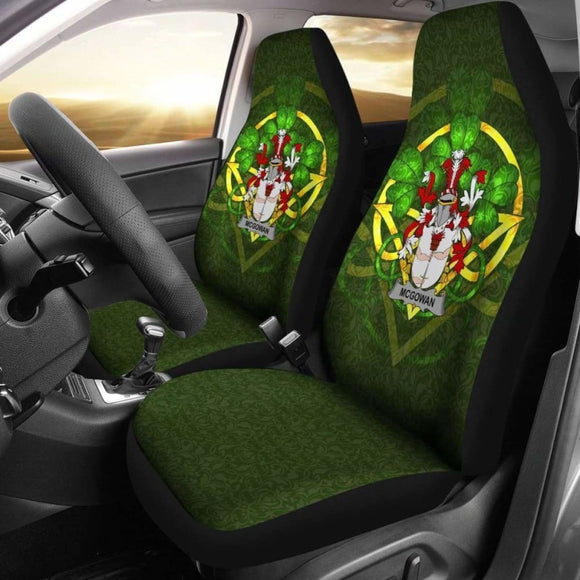 Mcgowan Or Mcgouan Ireland Car Seat Cover Celtic Shamrock (Set Of Two) 154230 - YourCarButBetter