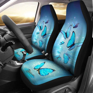 Neon Blue Butterfly Car Seat Covers 171204 - YourCarButBetter
