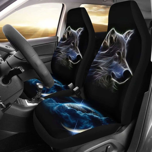 Neon Wolf Car Seat Covers Amazing 200904 - YourCarButBetter