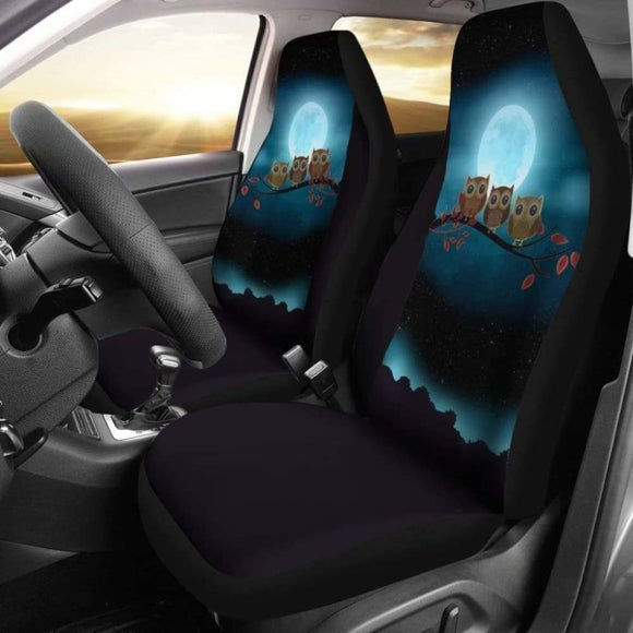 Owl At Night Car Seat Covers 174716 - YourCarButBetter