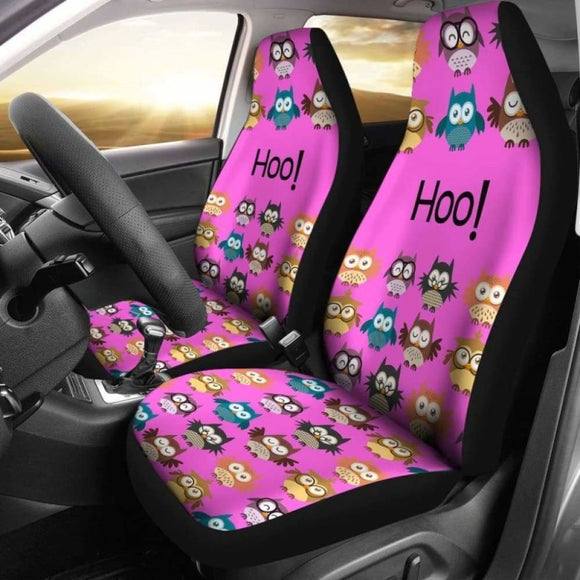 Owls Cute Car Seat Covers Purple 174716 - YourCarButBetter