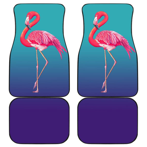 Pink Flamingos On Blue Background Car Floor Mats 210502 - YourCarButBetter