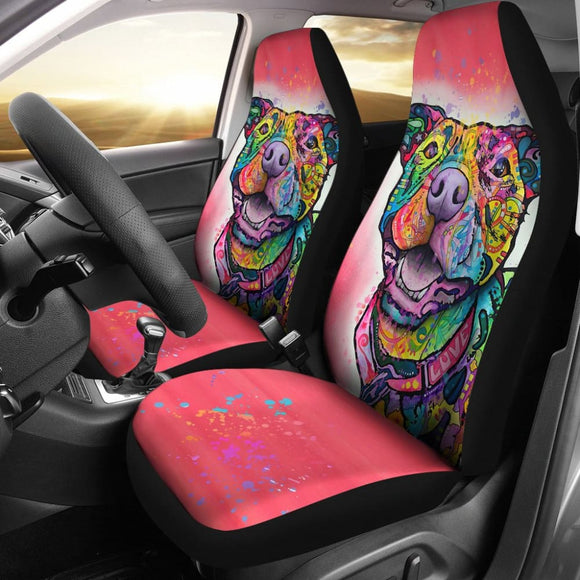 Pink Pitbull for Colorful Lovers Car Seat Covers 211302 - YourCarButBetter