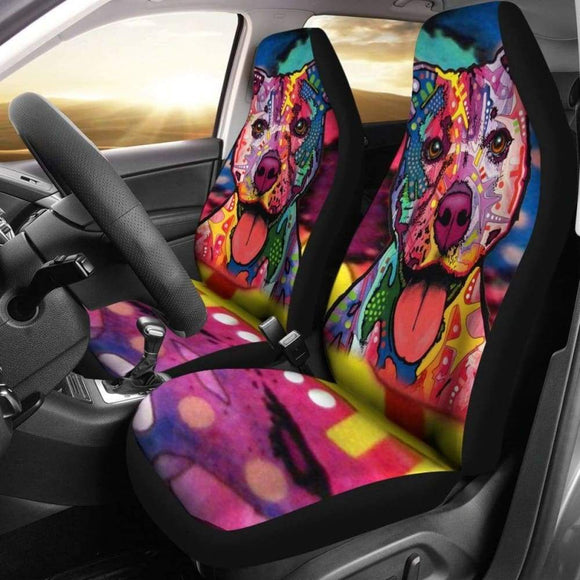 Pit Bull Design Car Seat Covers Colorful Back 113510 - YourCarButBetter