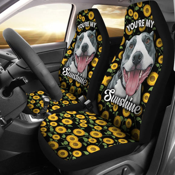 Pitbull Dog You Are My Sunshine Sunflower Car Seat Covers 211003 - YourCarButBetter