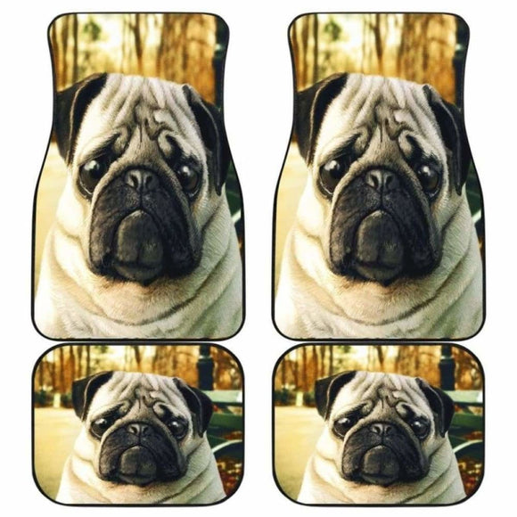Pug Dog Hungry Sad Face Car Floor Mats 102918 - YourCarButBetter