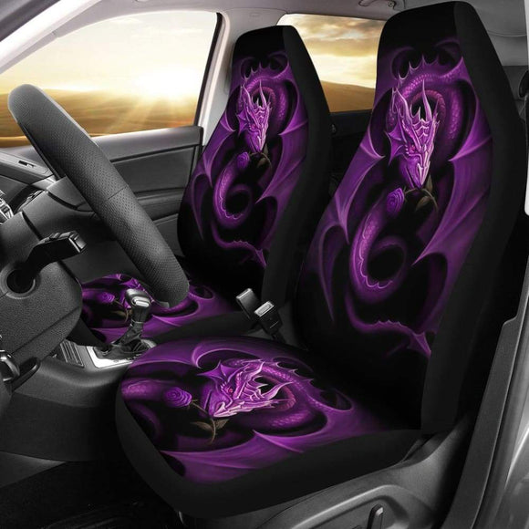 Purple Dragon Rose Art Design Car Seat Covers Fantasy 210303 - YourCarButBetter
